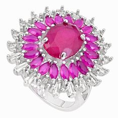 925 sterling silver 12.63cts red ruby (lab) white topaz ring size 6 c19979