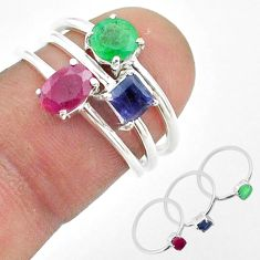 925 sterling silver 2.98cts red ruby emerald sapphire 3 rings size 6 t50905