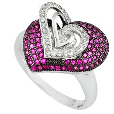 925 sterling silver red ruby quartz topaz heart ring jewelry size 7 c23703