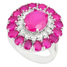 925 sterling silver red ruby quartz white topaz ring jewelry size 6 c19214