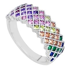 925 sterling silver 2.46cts ruby (lab) sapphire (lab) ring size 7 a96270 c24921
