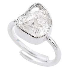 925 silver 6.26cts herkimer diamond adjustable ring jewelry size 6 t49017