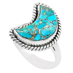 925 sterling silver 5.82cts moon blue copper turquoise ring size 6 t22173