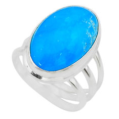 925 sterling silver 11.37cts solitaire blue smithsonite oval ring size 7 t29055