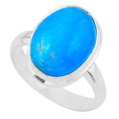 925 sterling silver 6.54cts solitaire blue smithsonite oval ring size 8 t29060