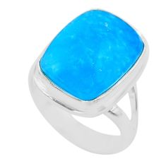 925 sterling silver 9.32cts solitaire blue smithsonite ring size 5.5 t29058