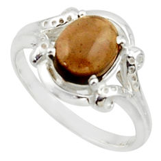 925 sterling silver 3.50cts solitaire brown smoky topaz oval ring size 8 r40690