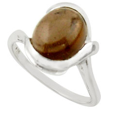 925 sterling silver 5.11cts solitaire brown smoky topaz oval ring size 8 r40807