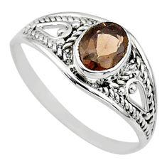 925 silver 1.58cts cut smoky topaz oval graduation handmade ring size 8 t9658