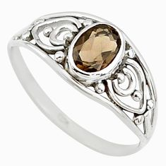925 silver 1.45cts cut smoky topaz oval graduation handmade ring size 9 t9395
