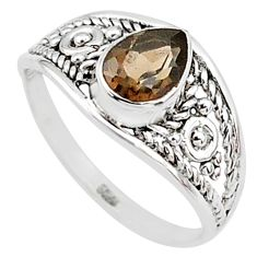 925 silver 1.59cts cut smoky topaz pear graduation handmade ring size 6 t9468