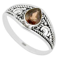 925 silver 1.58cts cut smoky topaz pear graduation handmade ring size 9 t9259