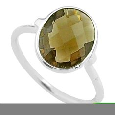 925 sterling silver 4.47cts solitaire brown smoky topaz ring size 7 t50730