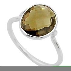 925 sterling silver 4.47cts solitaire brown smoky topaz ring size 7 t50768