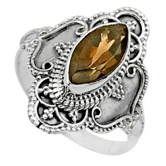 925 sterling silver 4.26cts solitaire brown smoky topaz ring size 8 t30793