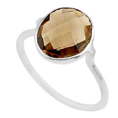 925 sterling silver 4.97cts solitaire brown smoky topaz ring size 8 t50687
