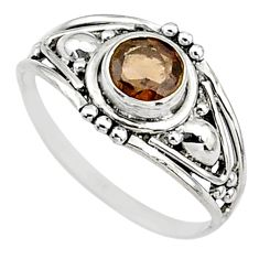 Silver 0.81cts cut smoky topaz round graduation handmade ring size 6 t9713