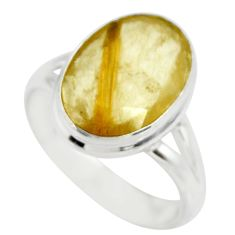 925 sterling silver 6.39cts solitaire faceted golden rutile ring size 7.5 r51304