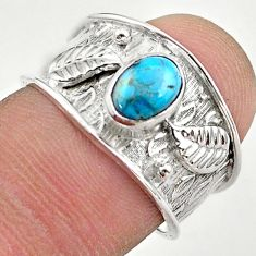925 sterling silver 1.44cts solitaire fine blue turquoise ring size 7 t42244