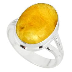 925 sterling silver 6.04cts solitaire golden rutile ring size 5.5 r51319