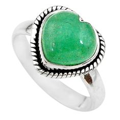 925 sterling silver 4.82cts green jade heart handmade ring size 8 t21685
