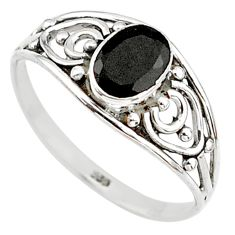 Silver 1.43cts natural black onyx oval graduation handmade ring size 7 t9367