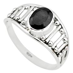 Silver 1.45cts natural black onyx oval graduation handmade ring size 8 t9428