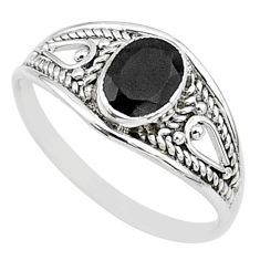 silver 1.44cts natural black onyx oval graduation handmade ring size 8 t9660