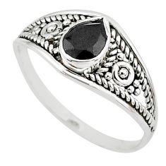 silver 1.58cts natural black onyx pear graduation handmade ring size 7 t9478