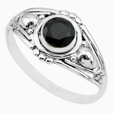 925 sterling silver 0.81cts solitaire natural black onyx ring size 8 r87300