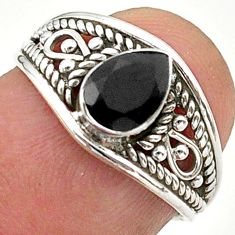 925 sterling silver 1.57cts solitaire natural black onyx ring size 5.5 t40087