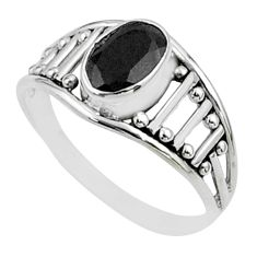 925 sterling silver 1.43cts solitaire natural black onyx ring size 5.5 t51915