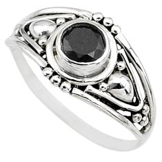 Silver 0.81cts natural black onyx round graduation handmade ring size 7 t9697