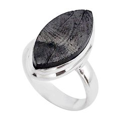 925 sterling silver 12.10cts solitaire natural black shungite ring size 6 t45843