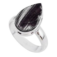 925 sterling silver 5.54cts solitaire natural black shungite ring size 6 t45893