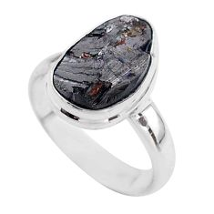 925 sterling silver 5.82cts solitaire natural black shungite ring size 7 t45854