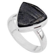 925 sterling silver 6.27cts solitaire natural black shungite ring size 7 t45874