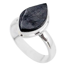 925 sterling silver 5.83cts solitaire natural black shungite ring size 8 t45848