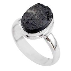 925 sterling silver 5.34cts solitaire natural black shungite ring size 8 t45869