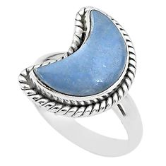 925 sterling silver 6.10cts moon natural blue angelite ring size 7 t22159