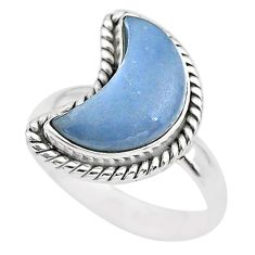 925 sterling silver 6.10cts moon natural blue angelite ring size 8 t22168