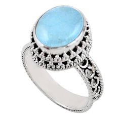 925 sterling silver 4.82cts solitaire natural blue aquamarine ring size 8 r51860
