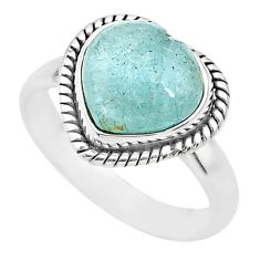 925 sterling silver 5.11cts heart blue aquamarine handmade ring size 8 t21800