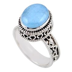 925 sterling silver 5.30cts solitaire natural blue aquamarine ring size 9 r51844