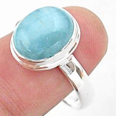 925 sterling silver 4.92cts solitaire natural blue aquamarine ring size 9 t38319