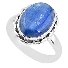 925 sterling silver 6.27cts solitaire natural blue kyanite ring size 8 t2438