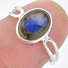 925 sterling silver 3.01cts solitaire natural blue labradorite ring size 6 t1658