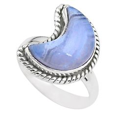 925 sterling silver 5.54cts moon natural blue lace agate ring size 7 t22145