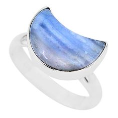 925 sterling silver 5.84cts moon natural blue lace agate ring size 8 t22050