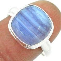 925 sterling silver 6.72cts solitaire natural blue lace agate ring size 8 t55071